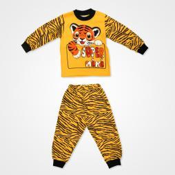 Süpermini Kaplan Baskılı Bebek Pijama Takımı - Turuncu Bebek Giyim