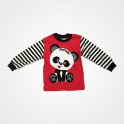 Süpermini Panda Baskılı Bebek Pijama Takımı - Kırmızı Bebek Giyim