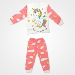 Süpermini Tek Boynuzlu At Baskılı Bebek Pijama Takımı - Pembe Bebek Giyim