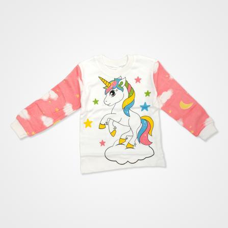 Süpermini Tek Boynuzlu At Baskılı Bebek Pijama Takımı - Pembe