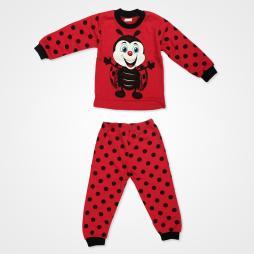 Süpermini Uğur Böceği Baskılı Bebek Pijama Takımı - Kırmızı