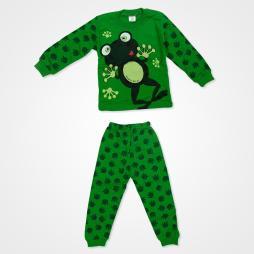 Süpermini Yeşil Kurbağalı Bebek Pijama Takımı - Yeşil