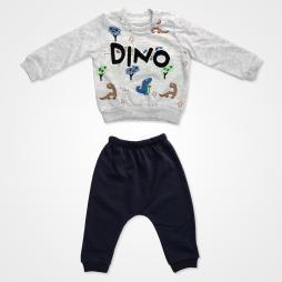 Anılço Baby Dinozor Baskılı Mevsimlik Bebek Takımı 2'li - Gri Bebek Giyim