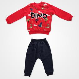 Anılço Baby Dinozor Baskılı Mevsimlik Bebek Takımı 2'li - Kırmızı
