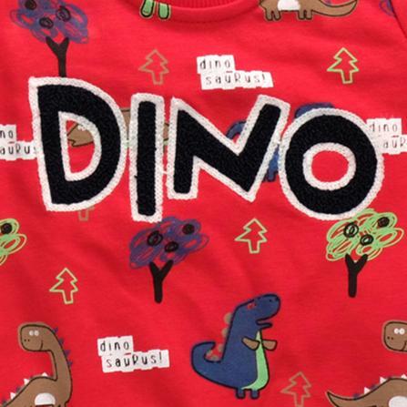 Anılço Baby Dinozor Baskılı Mevsimlik Bebek Takımı 2'li - Kırmızı Bebek Giyim