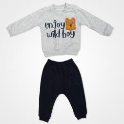 Anılço Baby Enjoy Wild Boy Mevsimlik Bebek Takımı 2'li - Gri Bebek Giyim