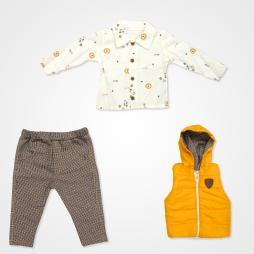 Hippıl Baby Aslan Kapşonlu Yelekli Bebek Takımı 3 Parça - Sarı