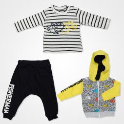 Hippıl Baby Balık Desenli Kapşonlu Ceketli Bebek Takımı 3 Parça - Sarı