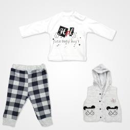 Hippıl Baby Cute Baby Boy Erkek Bebek Takımı 3 Parça - Gri Bebek Giyim