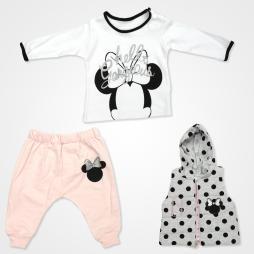Hippıl Baby Fare Kapşonlu Yelekli Bebek Takımı 3 Parça - Pembe Bebek Giyim