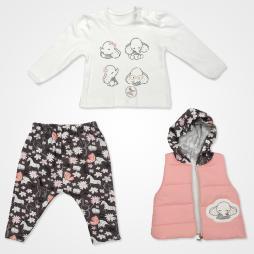 Hippıl Baby Filli Kapşonlu Yelekli Bebek Takımı 3 Parça - Pudra Rengi Bebek Giyim