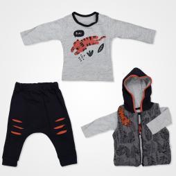 Hippıl Baby Mini Tiger Kapşonlu Yelekli Bebek Takımı 3 Parça - Turuncu Bebek Giyim