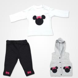 Hippıl Baby Mouse Kapşonlu Yelekli Bebek Takımı 3 Parça - Gri Pembe Kurdale Bebek Giyim