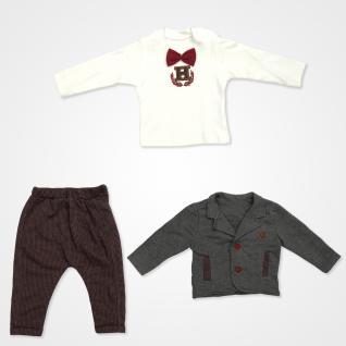 Hippıl Baby Papyonlu Ceketli Bebek Takımı 3 Parça - Bordo