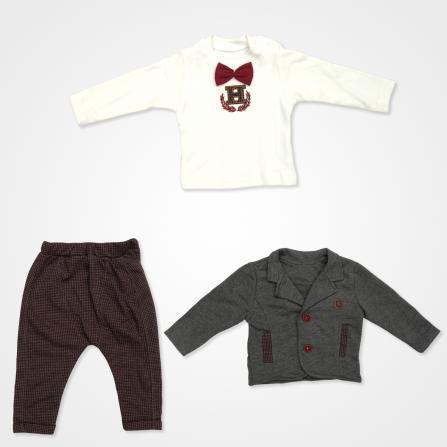 Hippıl Baby Papyonlu Ceketli Bebek Takımı 3 Parça - Bordo Bebek Giyim