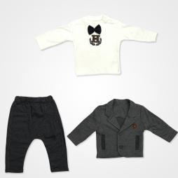Hippıl Baby Papyonlu Ceketli Bebek Takımı 3 Parça - Lacivert Bebek Giyim