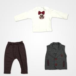 Hippıl Baby Papyonlu Yelekli Bebek Takımı 3 Parça - Bordo
