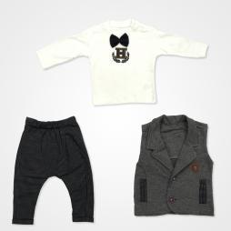 Hippıl Baby Papyonlu Yelekli Bebek Takımı - Lacivert