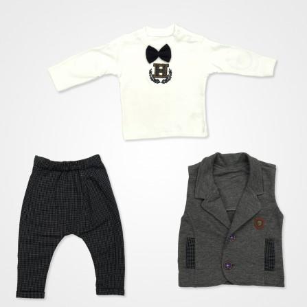 Hippıl Baby Papyonlu Yelekli Bebek Takımı - Lacivert Bebek Giyim