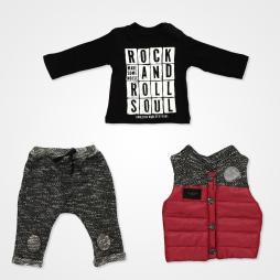 Hippıl Baby Rock And Roll Yelekli Bebek Takımı 3 Parça - Bordo