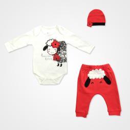 Miniworld Annesinin Kuzusu Badili Bebek Takımı 3 Parça - Kırmızı Bebek Giyim