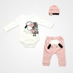 Miniworld Annesinin Kuzusu Badili Bebek Takımı 3 Parça - Pudra Bebek Giyim