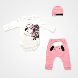 Miniworld Annesinin Kuzusu Badili Bebek Takımı 3 Parça - Şeker Pembe Bebek Giyim