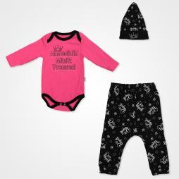 Miniworld Annesinin Minik Prensesi Badili Bebek Takımı 3 Parça - Açık Fuşya Bebek Giyim