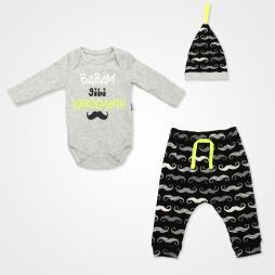 Miniworld Babam Gibi Karizmayım Badili Bebek Takımı 3 Parça - Fosfor Yeşili Bebek Giyim