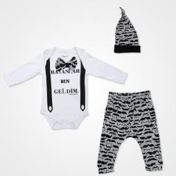 Miniworld Bayanlar Ben Geldim Badili Bebek Takımı 3 Parça - Siyah Beyaz Bebek Giyim