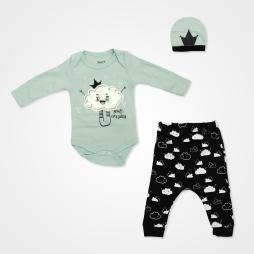 Miniworld Bulut Kabartmalı Badili Bebek Takımı 3 Parça - Mint Bebek Giyim