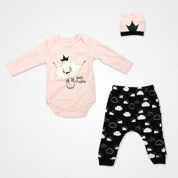 Miniworld Bulut Kabartmalı Badili Bebek Takımı 3 Parça - Pudra Bebek Giyim