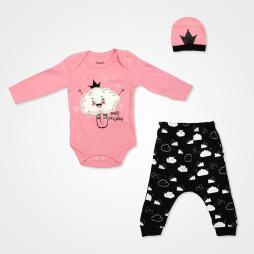 Miniworld Bulut Kabartmalı Badili Bebek Takımı 3 Parça - Şeker Pembe Bebek Giyim
