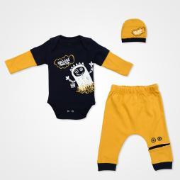 Miniworld College Monster Badili Bebek Takımı 3 Parça - Yeni Hardal Bebek Giyim