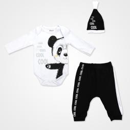 Miniworld Cool Panda Badili Bebek Takımı 3 Parça - Beyaz Bebek Giyim