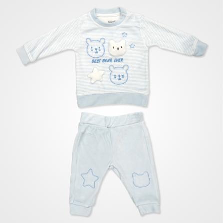 Miniworld Erkek Kadife Best Ayıcıklı Bebek Takımı 2'li - Mavi Bebek Giyim