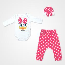 Miniworld Fiyonklu Ördek Badili Bebek Takımı 3 Parça - Fuşya Bebek Giyim
