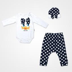 Miniworld Fiyonklu Ördek Badili Bebek Takımı 3 Parça - Lacivert Bebek Giyim