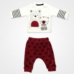 Miniworld Friends Ayıcıklı Kadife Bebek Takımı 2'li - Bordo Bebek Giyim