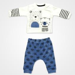 Miniworld Friends Ayıcıklı Kadife Bebek Takımı 2'li - İndigo Bebek Giyim