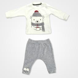 Miniworld Kadife Winter Bebek Takımı 2'li - Füme Bebek Giyim