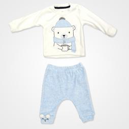 Miniworld Kadife Winter Bebek Takımı 2'li - Mavi Bebek Giyim