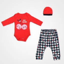 Miniworld Kiraz Sweet Together Badili Bebek Takımı 3 Parça - Kırmızı Bebek Giyim