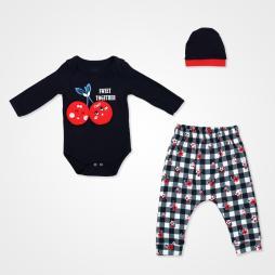 Miniworld Kiraz Sweet Together Badili Bebek Takımı 3 Parça - Lacivert Bebek Giyim