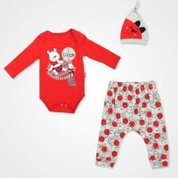 Miniworld Look Ayıcık Badili Bebek Takımı 3 Parça - Kırmızı Bebek Giyim