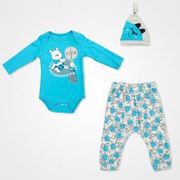 Miniworld Look Ayıcık Badili Bebek Takımı 3 Parça - Mavi Bebek Giyim