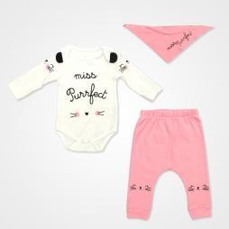 Miniworld Miss Purfect Badili Bebek Takımı 3 Parça - Şeker Pembe Bebek Giyim