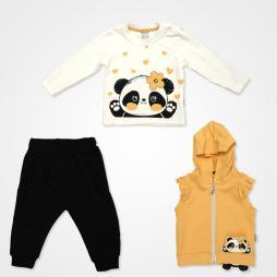 Miniworld Pandalı Kapşonlu Yelekli Bebek Takımı 3 Parça - Açık Hardal Bebek Giyim