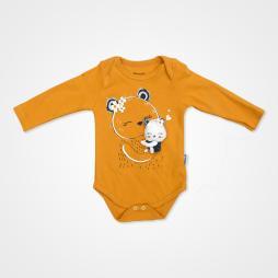 Miniworld Papatyalı Ayıcık Badili Bebek Takımı 3 Parça - Hardal Rengi Bebek Giyim