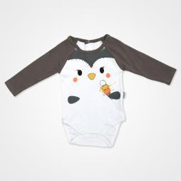 Miniworld Penguenli Badili Bebek Takımı 3 Parça - Gri Bebek Giyim